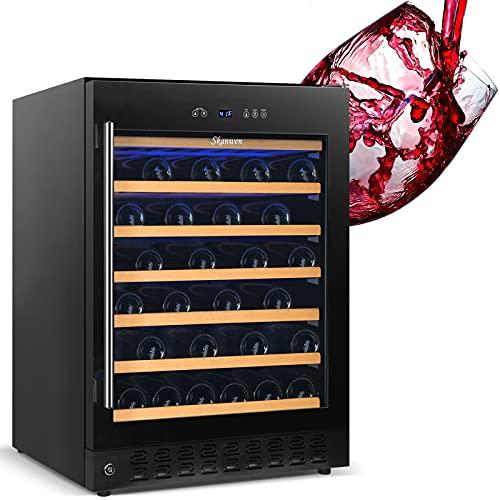 24 Inch Wine Cooler Beverage Refrigerator, SKANWEN 54 Bottle Storage Wine Fridge Constant Digital Temperature Control Built-in or Freestanding Compressor Wine Cellar Glass Door Stainless Steel Black