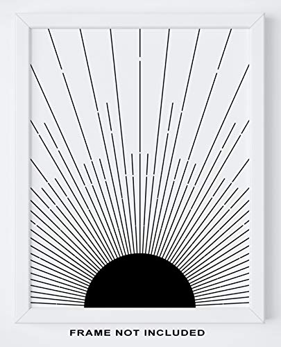 "Abstract Geometric Sun Wall Art Print - 11x14"" UNFRAMED Print - Modern, Minimal, Black"