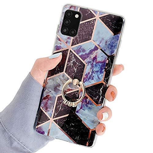 Herbests Kompatibel mit Samsung Galaxy A31 Hülle Bunt Marmor Muster TPU Silikon Handyhülle Glänzend Bling Glitzer Diamant Strass Ring Halter Ständer Crystal Case Tasche Schutzhülle,Braun