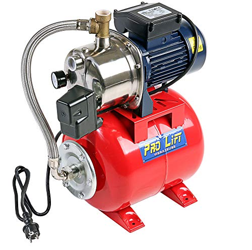 Pro-Lift-Werkzeuge Hauswasserwerk Edelstahl Wasserpumpe 3600l/h Gartenpumpe 1,1kW Förderdruck 4,6bar Pumpe Teichpumpe Hauswasserversorgung Garten Haus