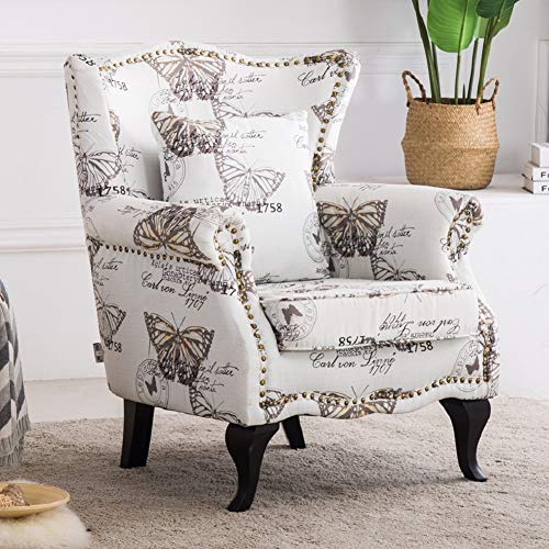 WarmiehHomy Occasional Velvet Fabric Wing Back Armchair Butterfly Fireside Accent Chair for Living Room Bedroom