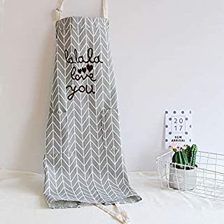 Aprons Lovely Woman with Pocket Cooking Girl Painting Gifts Grey Retro Kitchen with Love You Cotton for Kitchen Baking Salon Pinafore Vintage