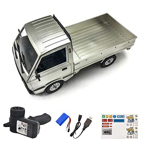 WPL D12 2.4Ghz RC mini camiones de carga del modelo de carro, Simulación RC Pequeño modelo de camión grande de coches de juguete RC, niño y del juguete del niño eléctrico hefeide ( Color : Silver )