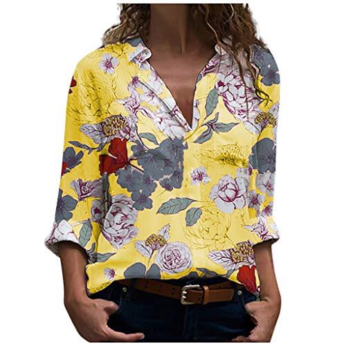 EUCoo - Maglione da donna alla moda, con stampa a fiori e maniche lunghe Giallo M