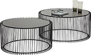 Kare Design Couchtisch Wire Black 2er Set, runder, moderner Glastisch, großer Beistelltisch, Kaffeetisch, Nachttisch, Schwarz (H/B/T) 30,5xØ60cm & 33,5xØ69,5cm