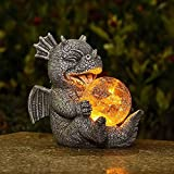 Garden Dragon Statues - Adorable Baby Resin Dragon Figurines, Holding Magic Orb with Solar LED Lights, Outdoor Spring Decorations for Patio Yard Lawn Porch, Ornament Gift