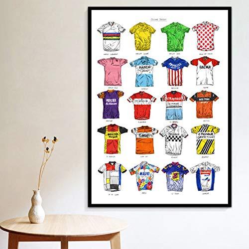 GUDOJK Quadro su Tela Stampe Poster CiclismoSport Camicie Collezione di Maglie Collage Arte Arte Tela Pittura a Olio Immagini murali Soggiorno Decorazioni per la casa-70x100cm