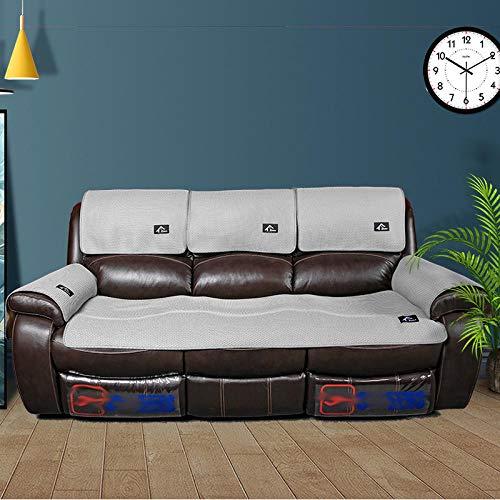 YUTJK Antideslizante Funda De Sofá,Protector de Protector de sofá de Masaje,cojín Antideslizante para sofá de Cuero,Funda de Verano de 2/3/4 plazas,Toalla de sofá Fresca-Grey_70 * 150cm