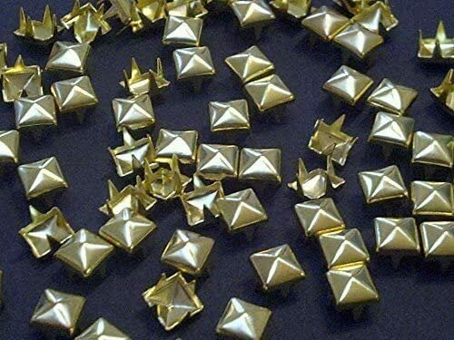 100pcs 12mm Gold Square Pyramid Studs Goth Leather craft Denim- by Boong Store