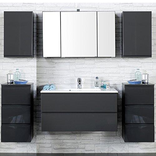 Badezimmer Set COMO-03, 4-teilig, Hochglanz grau, 100cm Waschtisch Badmöbel, Waschtisch, Badezimmermöbel, LED Spiegelschrank, Waschplatz, Badezimmerschränke