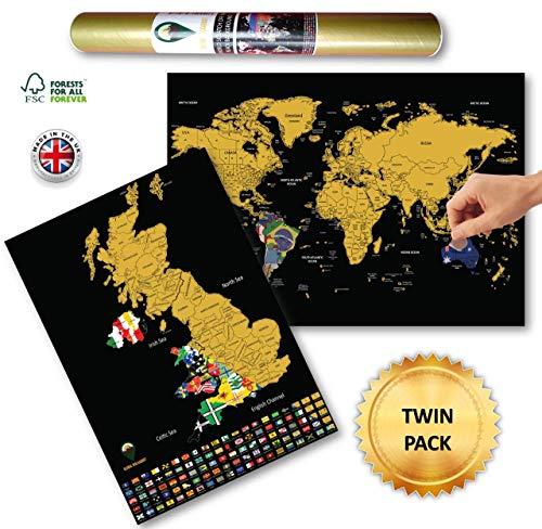 Global Walkabout Scratch Off World en UK Kaart met vlaggen achtergrond - Deluxe Travel Size World en UK Map Poster - Landen en feiten - Travel Gift