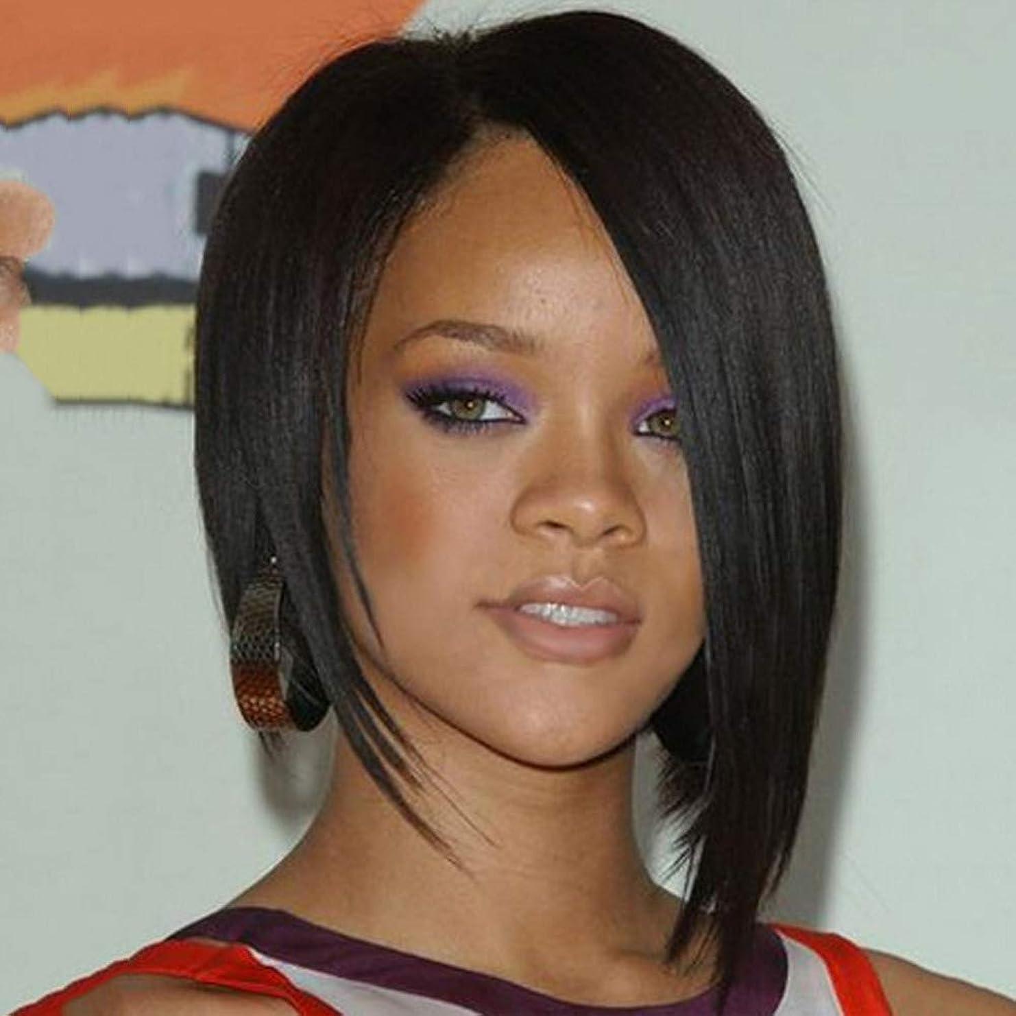 忠実確率カウントアップ女性のかつらバージン人間の髪の毛の短いストレートグルーレスベビーヘアーフルヘッドかつら25 cm