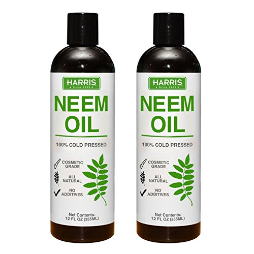 Harris Neem Oil, 100% Cold Pressed and Unrefined, Cosmetic Grade, 12oz (2/Pack)
