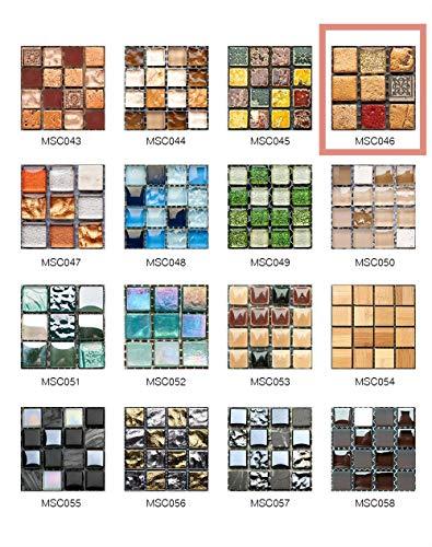 50 Pezzi 3D Adesivi per Piastrelle Mosaico Mattonelle Sticker Autoadesivo Mattonelle Parete PVC Impermeabile per Bagno Cucina Piastrelle Wall Stickers (10*10CM*50pcs, MSCO46)