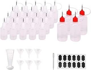 Belinlen 24pcs Needle Tip Squeeze Bottle DIY Quilling Tool Precision Tip Empty Applicator Glue Bottle(20pcs 30ml; 4pcs 50ml) Come with 6 Pcs Mini Funnel, 24 pcs Chalk Labels, 1 Pen