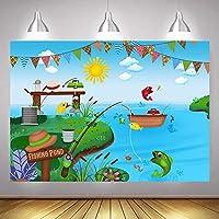 Summer Fishing Pond Theme Lake Backdrops 7x5ft Fishing Party Photo Prop for Children Boys Girls Birthday Banner Photography Background Baby Shower Dessert Cake Table Decor Vinyl