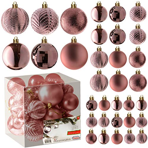 Rose Gold Christmas Ball Ornaments for Christams Decorations - 36 Pieces Xmas Tree Shatterproof Ornaments with Hanging Loop for Holiday and Party Deocation (Combo of 6 Styles in 3 Sizes)