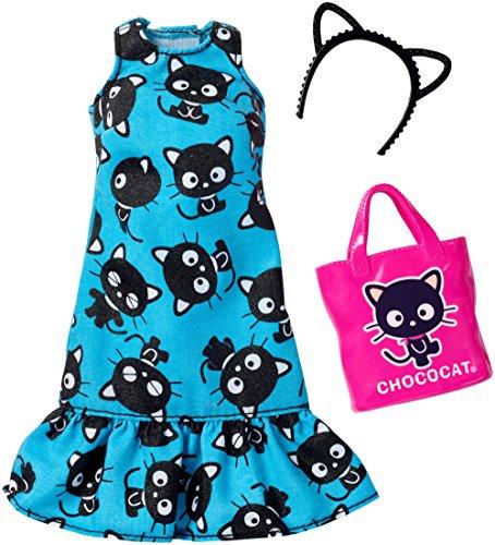 Original Barbie Mode, Kleider Set - FKR71 Hello Kitty Outfit, türkises Kleid mit Handtasche und Haarreif