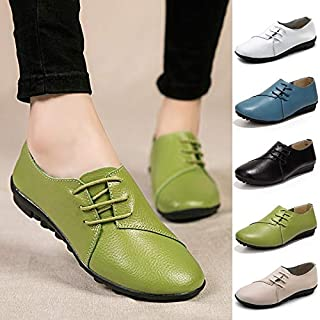 New Vintage Women Flats Genuine Leather Shoes Woman Boat Shoes Breathable Fashion Flat Shoes(Blue,7.5)