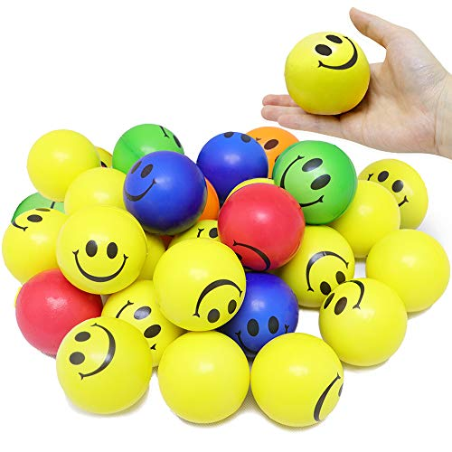 VCOSTORE Smile Face Stress Balls, 24 Pack of Funny Squeeze Balls Bulk with Neon Yellow Color, 2.5
