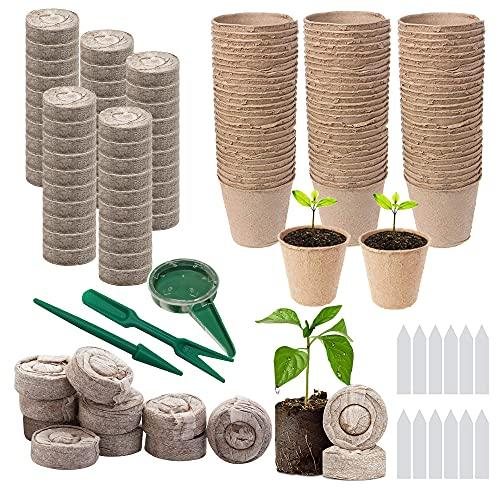 Woohome 202 Pz Macetas de Semillas Biodegradables y Turba Pellets Tapones, Semilleros Biodegradables Macetas de Turba para Las Plántulas, Etiquetas Transplantación para Plantas