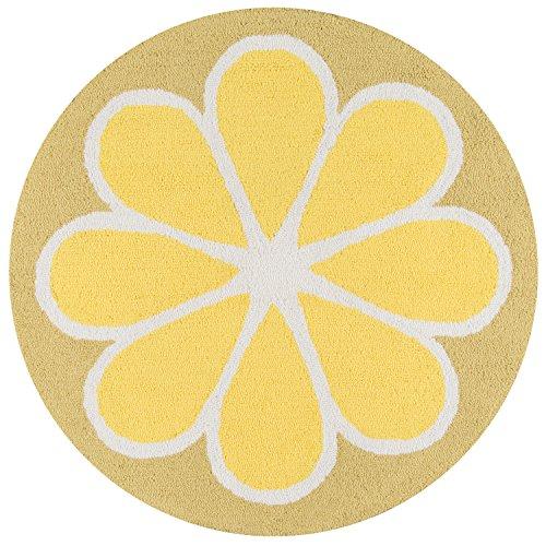 Momeni Rugs CUCINCNA-1YEL300R Cucina Lemon Kitchen Mat, 3' x 3' Round, Yellow