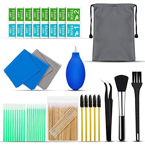 Kit di pulizia per iPhone 142 pezzi, kit di pulizia per Airpod con salviettine, kit di pulizia dello schermo per telefono, computer portatile, kit di pulizia per iPhone con panno in microfibra