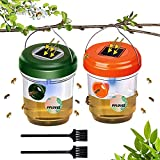 Wasp Trap-Solar Energy,Portable,Waterproof,Reusable Bait Wasp Trap Catcher-Wasp,Yellow Jackets, Hornets and Honey Bee Insect Killer-Includes 2 Small Cleaning Brushes-Green&Orange