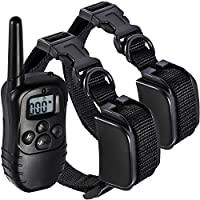 OxGord Rechargeable Waterproof LCD 100LV Shock Two Pet Remotes Training Collar, 330 yd