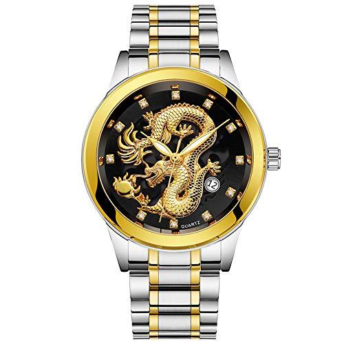 Celucke Quarz Uhr Herren Armbanduhr mit Edelstahl Metallarmband im Drachen Style, Männer Uhren Business Herrenuhr Analoguhr Luxusuhren Wasserdicht Sportuhr Klassisch Quarzuhr