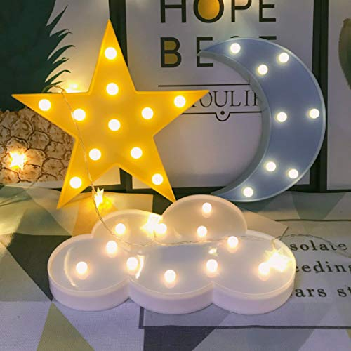 QiaoFei Decorative LED Crescent Moon Cloud Star Night Lights for Kids Girls and Adults, Nursery Night Lamp Gift for Children Baby Room Party Holiday Decorations (Blue Moon-Yellow Star-White Cloud)