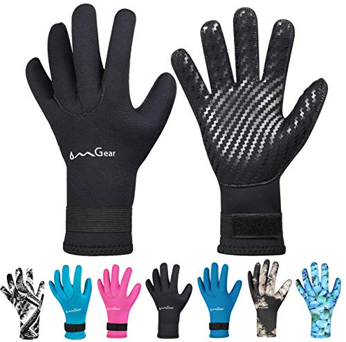 OMGear Neoprene Gloves for Snorkeling Diving Kayaking Surfing Spearfishing All Watersports (Black, M)