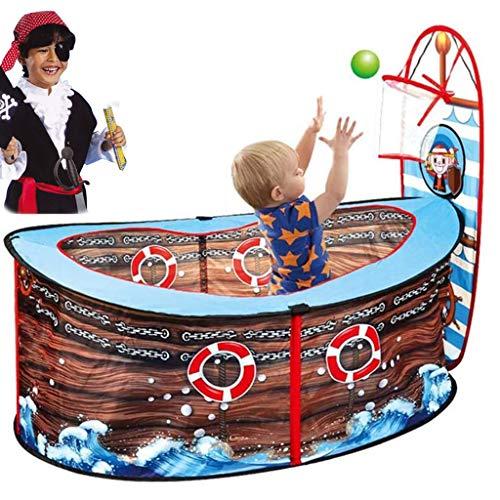 AILSAYA Piratenschiff Zelt, Marine Ball Pool Spiel Zaun Mit Basketballkorb Für Kinder, Marine Ball Pool Spiel Kinder Indoor Outdoor Garten, Zelt Für Kinder Faltbares Pop Up Spiel Zelt Spiel Spielzeug