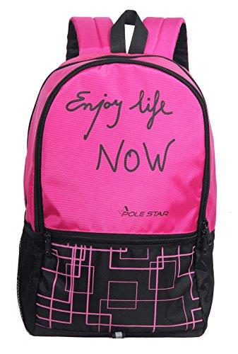 POLESTAR Hero 32 Lt Pink/Black lite Weight Casual Backpack/Daypack