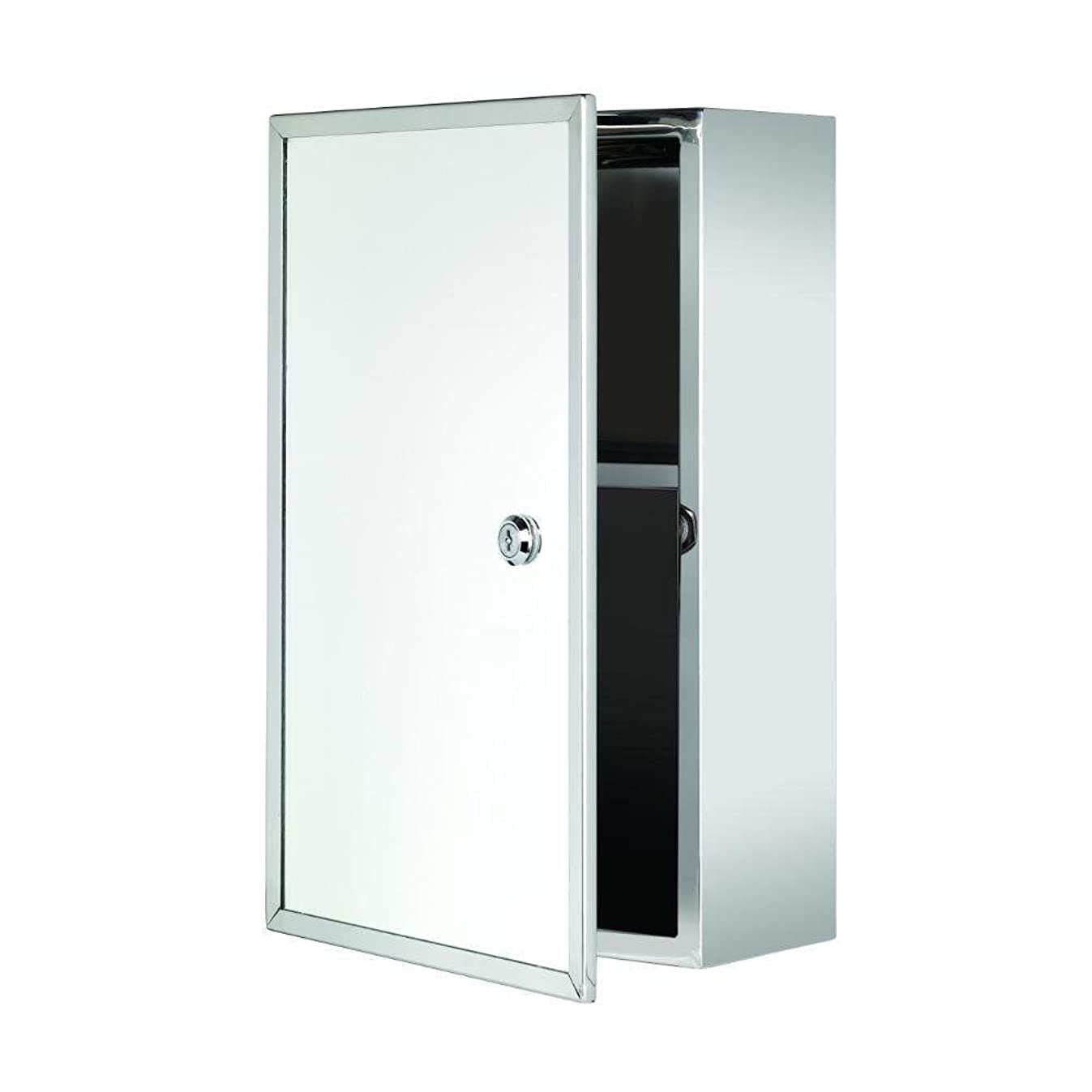 Croydex Trent Stainless Steel Lockable Surface Mount Medicine Cabinet with Keys, 15.7 x 9.8 x 5.2 In.