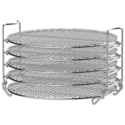 JIANDW Estante deshidratador de acero inoxidable, estante deshidratador de cinco capas de grado alimenticio, para freidora de aire, olla a presión, estante deshidratador apilable para horno