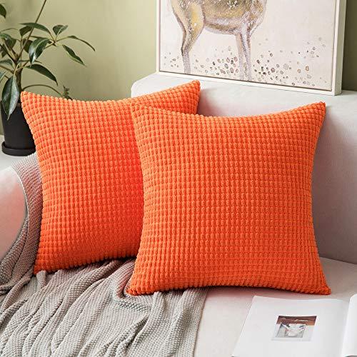 MIULEE Confezione da 2 Federa Granula per Cuscino Fodera Morbido Quadrato Decorativo per Divano Lettoin Misto Poliestere 40X40 cm Arancione Chiaro