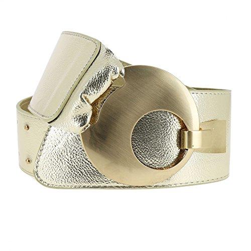 FASHIONGEN - Cinturón ancho para mujer VANESSA - Dorado brillante, XL a XXL/Pantalones 45 a 55