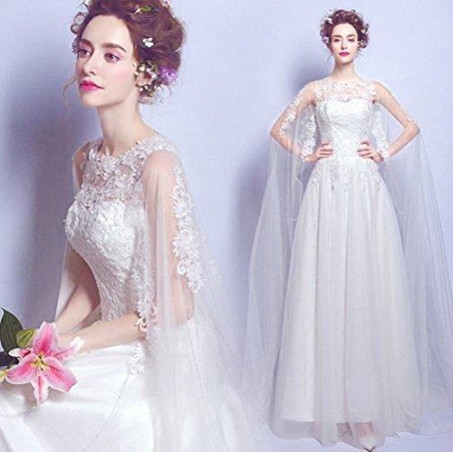 GXY Einfache Perspektive Spitze Blume Western Prinzessin Braut Schlank Qi Brautkleid,Weiß,S