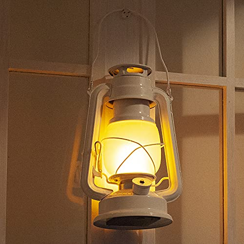 LED Hurricane Lantern, Vintage Style Camping Lantern, Warm White Battery Operated Lantern, Antique Metal Hanging Lantern with Dimmer Switch, 12 Leds, for Indoor or Outdoor Usage