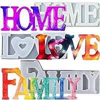 thanksky 文字クリスタル樹脂型、ラブサイン樹脂鋳造型、DIYエポキシ型、室内装飾、ホームサイン/ウォールアート/壁掛け(MIX2)