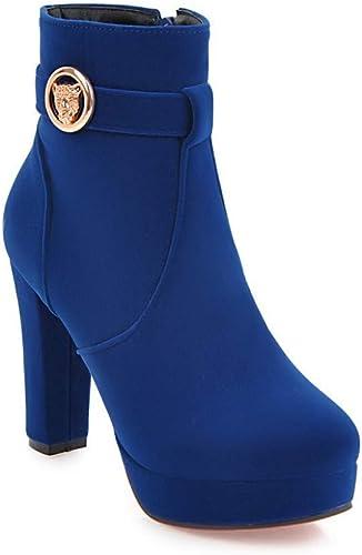 ZHRUI Stiefel para damen  Calidez de Invierno con schuhe para damen Cremallera Lateral Stiefel de tacón Alto Stiefel de Novia Rojas 33-43 (Farbe   Blau, tamaño   43)