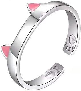 خواتم Tafeily Cat 925 من الفضة الاسترلينية خواتم مفتوحة للقطط الوردي خواتم قابلة للتعديل للنساء والفتيات