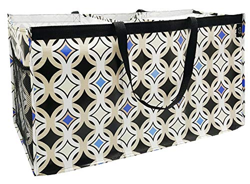 Reusable Trunkster Grocery Shopping Tote, Durable, Foldable, Lightweight, Washable, 3 Compartment, Diamond Circles