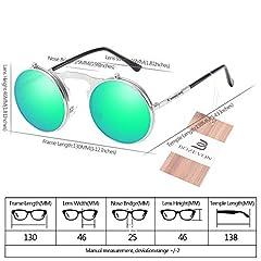 BOZEVON Flip up Round Sunglasses - Metal Steampunk Retro Circle Eyewear for Men & Women Silver Green #5