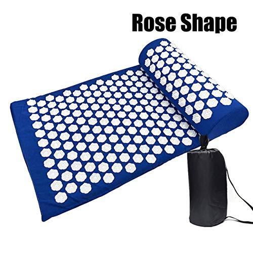 Yoga mat LKU Shiatsu massage om rugpijn te verlichten, relax acupunctuur massage yogamat met kussen, B, Blauw