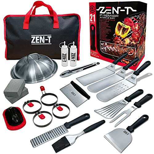 ZEN-T - 21 Piece Grill Griddle BBQ Tool Kit - Heavy Duty Professional Grade Stainless Steel BBQ Tools - Perfect Grilling Utensils for All Your Grilling Needs – Outdoor and Indoor BBQ Accessories…