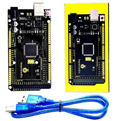 KEYESTUDIO Mega 2560 R3 Tarjeta Mega 2560 Placa con Microcontrolador Basada en el ATmega2560 ATmega16U2 Principal Junta Compatible con Arduino Mega Kit Starter Kit