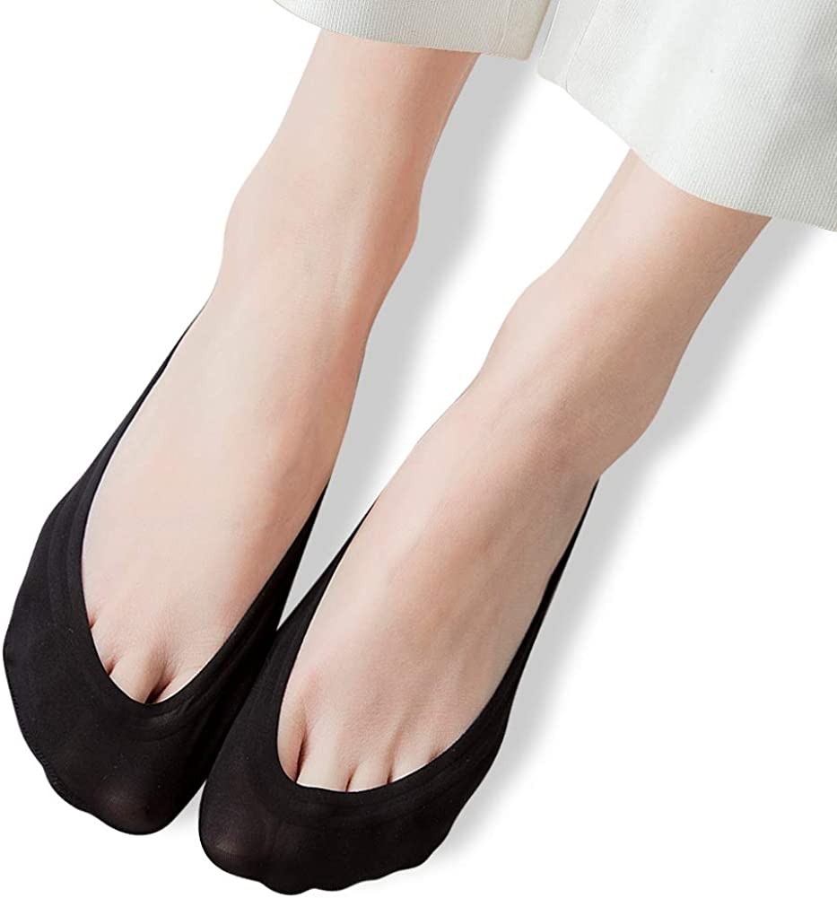 AINIAILU 4 Pairs No Show Socks Women Low Cut Liner Cotton Nylon Boat Invisible Hidden Socks Non-Slip for Flats
