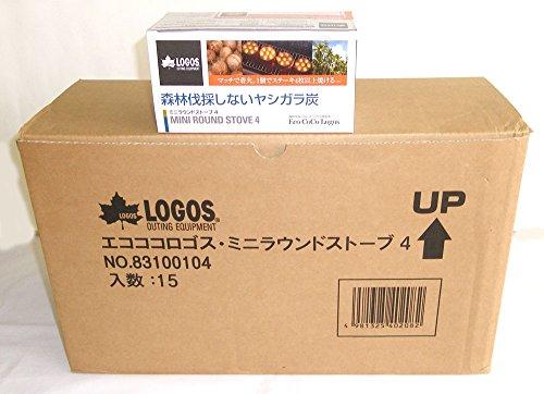 LOGOS(ロゴス)エコココロゴス・ミニラウンドストーブ4P(練炭)×15箱入/83100104-15